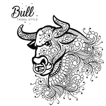 Cabeza de toro estilo tribal dibujado a mano.
