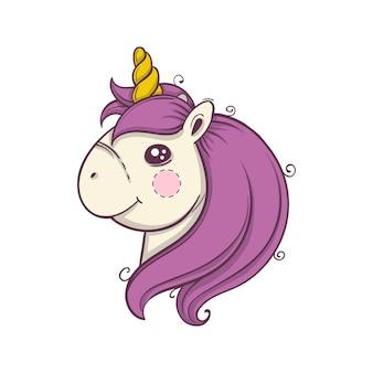 Cabeza de unicornio de dibujos animados lindo sobre fondo blanco