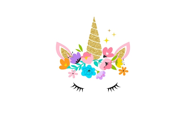 Cabeza de unicornio con ilustración de flores