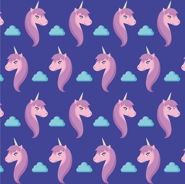 Cabeza unicornio lindo de patrón de cuento de hadas