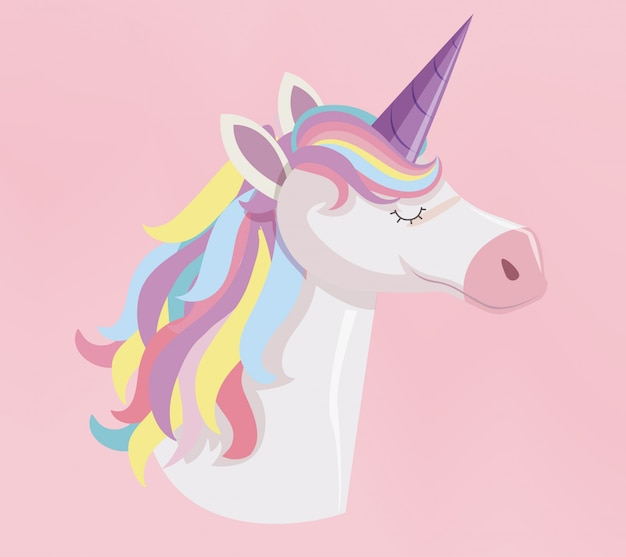 Cabeza de unicornio con melena de arco iris y cuerno sobre fondo rosa