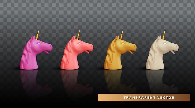 Cabeza de unicornio realista conjunto cara unicornio fondo transparente