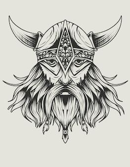 Cabeza de vikingo aislado color blanco y negro