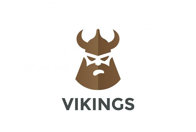 Cabeza de vikingo en casco silueta logo. estilo de espacio negativo.