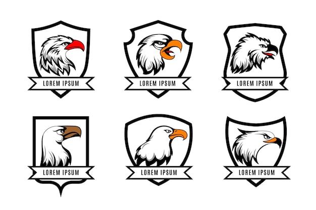 Cabezas de águila o halcón americano con plantillas de placas de escudos. conjunto de logotipo con escudo y águila.