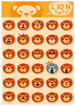 Cabezas de emoticonos de emoji de león con emociones.