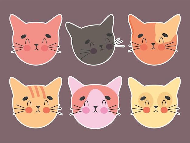 Cabezas de gatos adorables