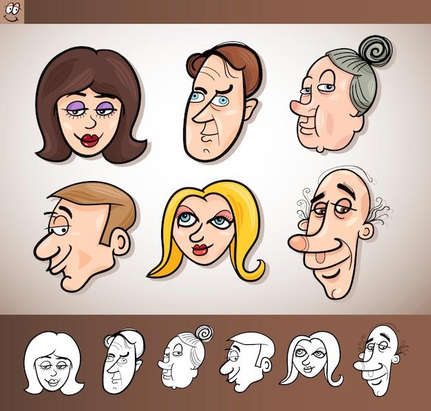Cabezas de gente de dibujos animados conjunto ilustración