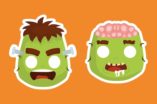 Cabezas de halloween de frankenstein y personajes zombies