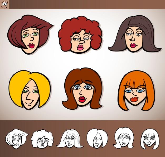 Cabezas de mujeres de dibujos animados conjunto ilustración