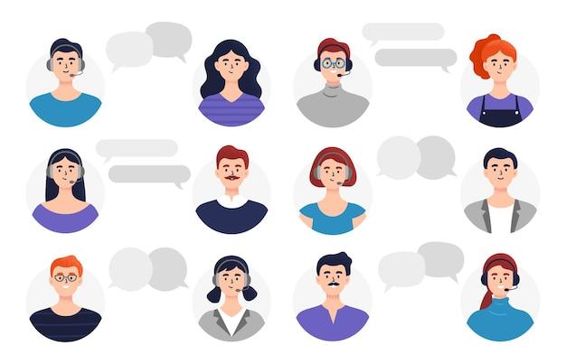 Cabezas de personas con burbujas de chat