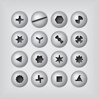 Cabezas de tornillo en fondo gris