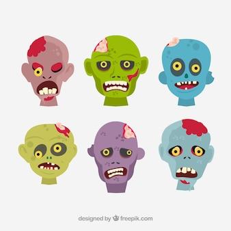 Cabezas de zombies de dibujos animados