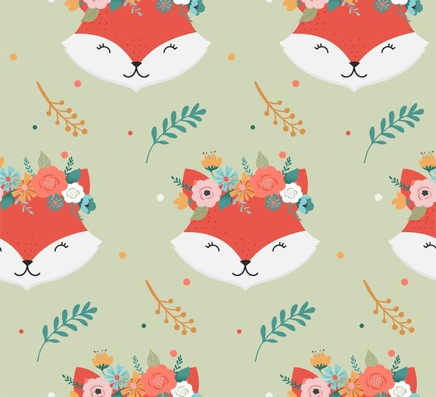 Cabezas de zorros lindos con patrones sin fisuras de corona de flores