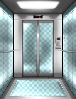 Cabina de ascensor de cristal vacía con paredes transparentes.