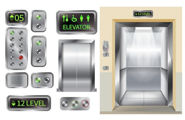 Cabina de ascensor con puertas y panel de botones cromados.