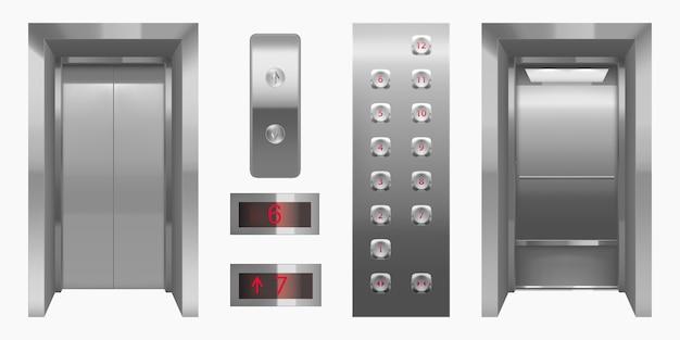 Cabina de ascensor realista con puertas cerradas y abiertas.