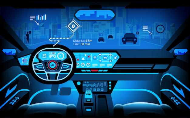 Cabina de automóvil, varios monitores de información y pantallas de visualización. automóvil autónomo, automóvil sin conductor, sistema de asistencia al conductor, acc (adaptive cruise control), ilustración