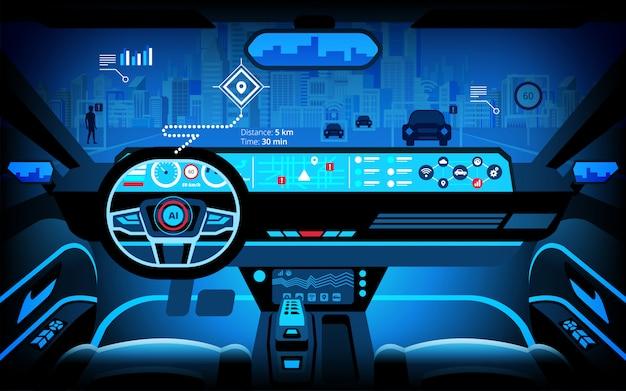 Cabina de automóvil, varios monitores de información y pantallas de visualización. automóvil autónomo, automóvil sin conductor, sistema de asistencia al conductor