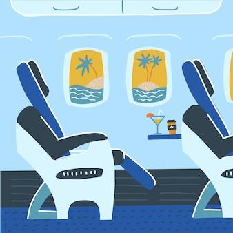 Cabina de avión con asientos de pasajeros. vacaciones tropicales viajes de verano. ilustración de dibujos animados plana.