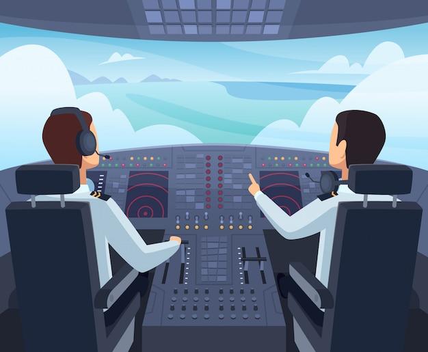 Cabina de avión pilotos sentados delante del tablero de instrumentos dentro de ilustraciones de dibujos animados