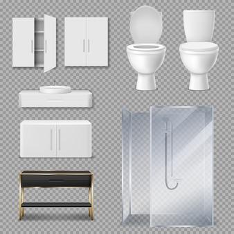 Cabina de ducha, inodoro y lavabo para baño