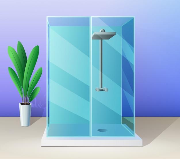 Cabina de ducha moderna y planta de interior en estilo plano, ilustración de baño.
