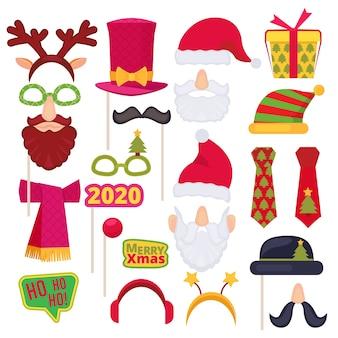 Cabina de fotos navideña. santa máscara sombrero muñeco de nieve año nuevo copos de nieve decoración de disfraces de vacaciones. dibujos animados s