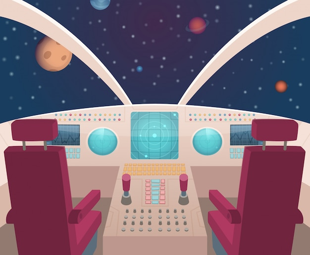 Cabina de nave espacial. shuttle dentro del interior con la ilustración del panel del tablero en estilo de dibujos animados