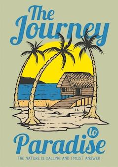 Cabina de playa en el día de verano con palmeras tropicales y puesta de sol en la ilustración de vector retro de los años 80