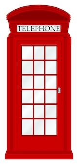 Cabina telefónica de inglaterra sobre un fondo blanco