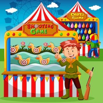 Cabinas de juego en el carnaval.