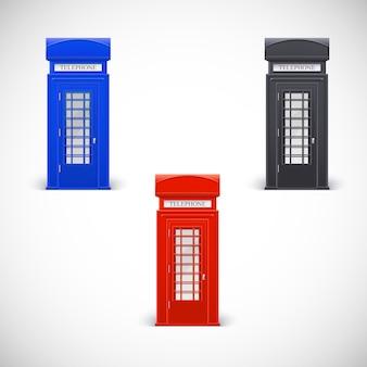 Cabinas telefónicas de colores, estilo londone. aislado en un fondo blanco