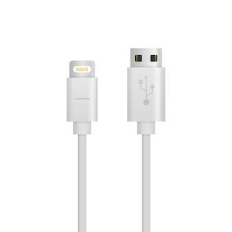 Cable de cargador de smartphone aislado sobre fondo blanco. dispositivo eléctrico del cargador del teléfono del cable del alambre del usb de la tecnología de carga. conectores y enchufes para pc y dispositivos móviles.