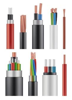 Cable de fibra óptica. cable de alimentación de energía inalámbrica de electricidad de cerca una imagen realista.