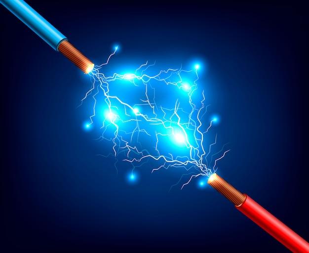 Cables eléctricos relámpago composición realista