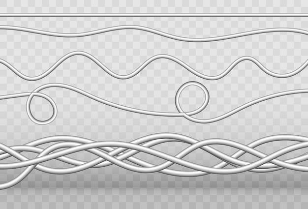 Cables industriales de alimentación.ilustración de vector. cables eléctricos sobre un fondo transparente.