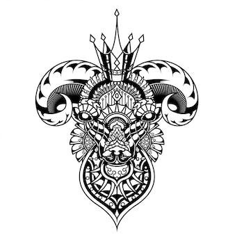 Cabra ilustración, mandala zentangle y diseño de camiseta