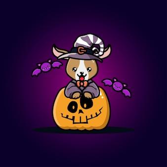 Cabra linda con dibujos animados de calabaza de halloween