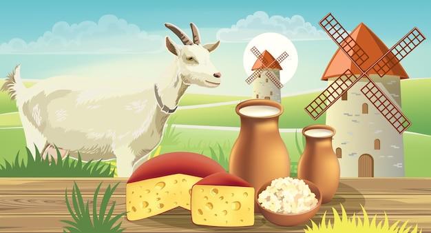 Cabra en prado con molinos de viento, cerca de una mesa con queso, requesón y leche encima. realista.