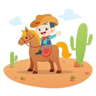 Cabrito que monta el ejemplo del vector del caballo aislado
