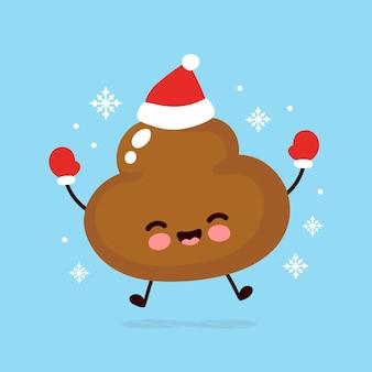 Caca feliz en guantes y gorro de navidad