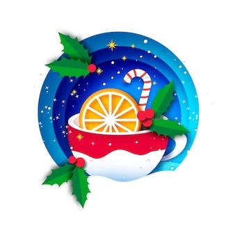 Cacao caliente con naranja y lindo bastón de caramelo. taza de café navideña con chocolate caliente. taza sobre fondo azul. deseos cálidos. feliz año nuevo. feliz navidad.