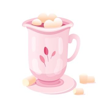 Cacao con ilustración de malvavisco, bebida dulce de chocolate caliente en imágenes prediseñadas de taza rosa sobre fondo blanco. café, té en elegante taza de porcelana con platillo.