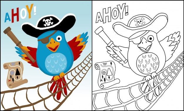Cacatúa divertida caricatura perca en cuerda de vela