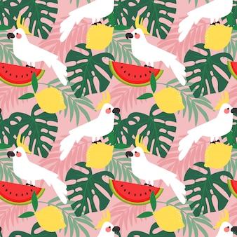 Cacatúa en el patrón sin fisuras de bosque tropical.