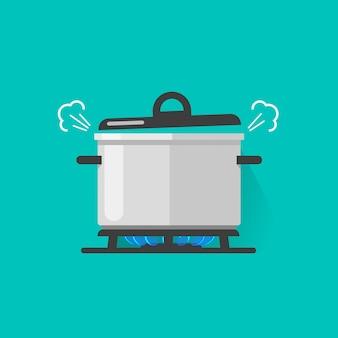 Cacerola con vapor en el fuego de la estufa de gas cocinando una ilustración de vector de comida hirviendo