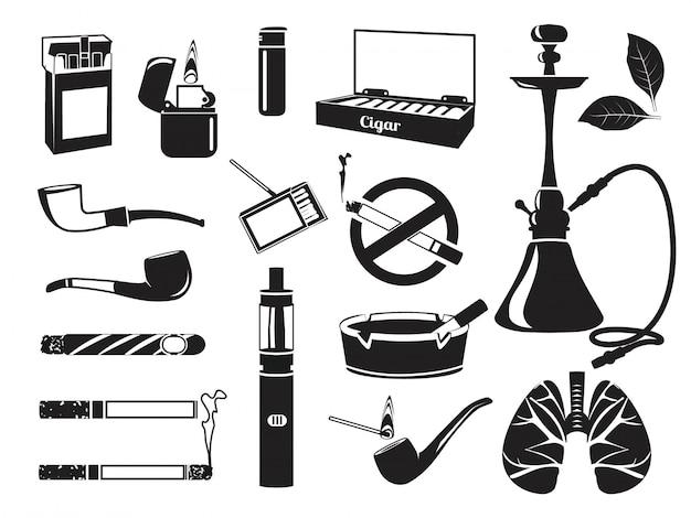 Cachimba monocromática, hojas de tabaco, cigarrillos y otras herramientas para fumadores.