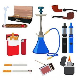 Cachimba, tabaco, cigarrillos y otras herramientas diferentes para fumadores.