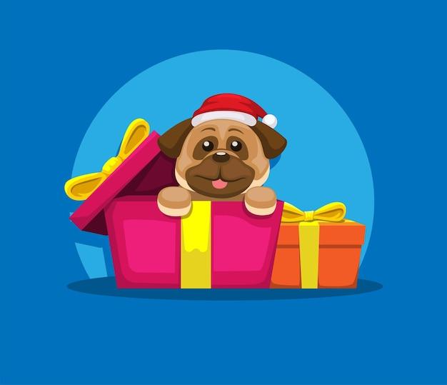 Cachorro buldog con caja de regalo en vector de ilustración de dibujos animados de navidad